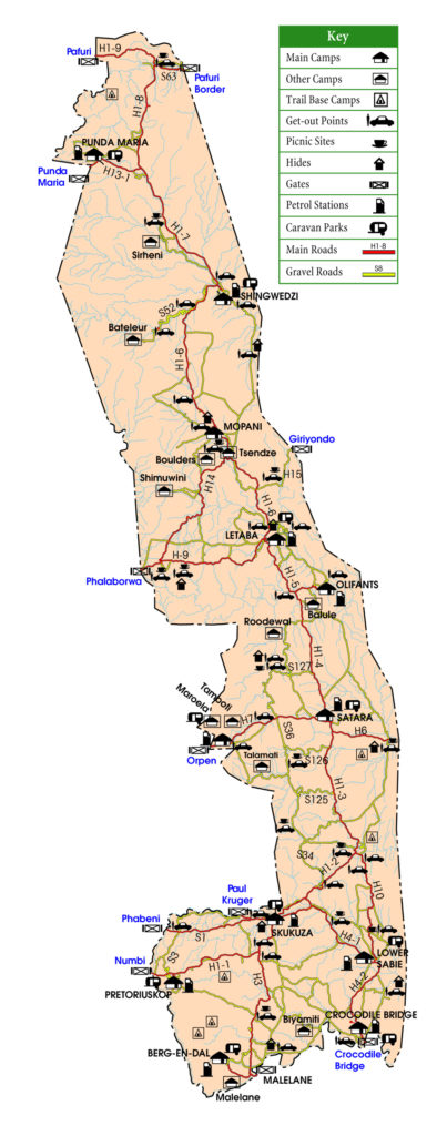 Mappa Kruger National Park
